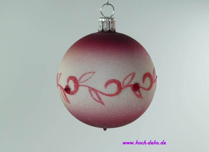 Handbemalte Christbaumkugeln.6 Stück Weihnachtskugeln Ranke Swarovski Steine