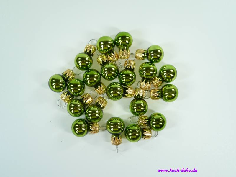 Mini Christbaumkugeln.Weihnachtskugeln Mini Christbaumkugeln 15mm Apfelgrun Glanz