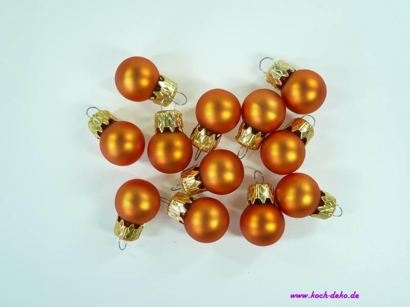 Mini Christbaumkugeln.Weihnachtskugeln Mini Christbaumkugeln 20mm Hell Orange Matt