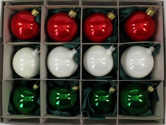 Weiße Christbaumkugeln Matt.Mundgeblasene Christbaumkugeln Rot Weiss Grün Mix 6cm 1 Karton Mit 12 Kugeln