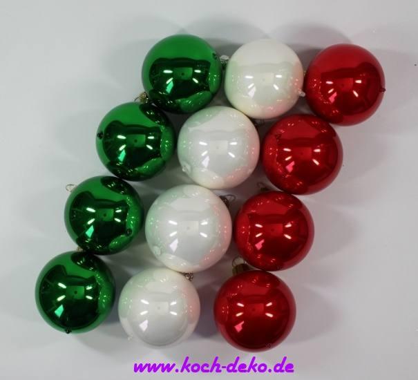 Christbaumkugeln Eislack Rot.Mundgeblasene Christbaumkugeln Rot Weiss Grün Mix 10cm 1 Karton Mit 12 Kugeln
