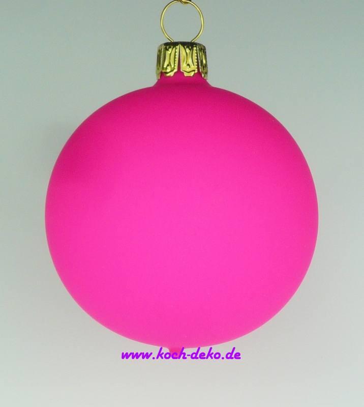 Weihnachtskugeln Pink.Mundgeblasene Christbaumkugeln Neon Pink Matt 10cm 1 Karton Mit 4 Kugeln