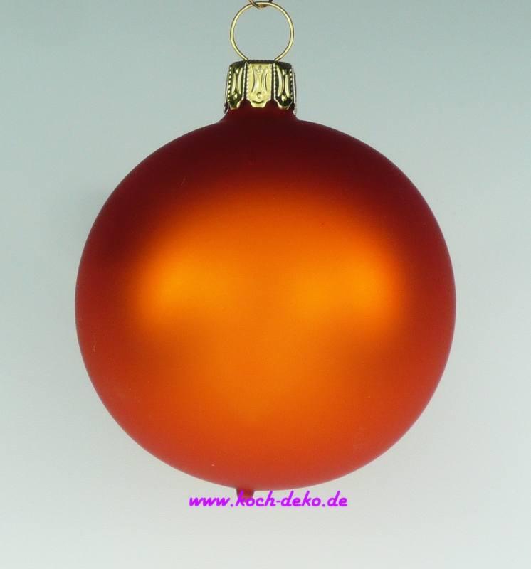 mundgeblasene christbaumkugeln orange matt 10cm 1 karton mit 4. Black Bedroom Furniture Sets. Home Design Ideas