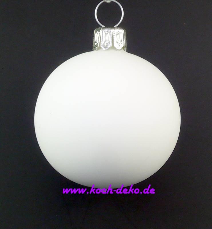 Christbaumkugeln Weiß 8cm.Mundgeblasene Christbaumkugeln Samtweiss 8cm 1 K A 6 Kugeln