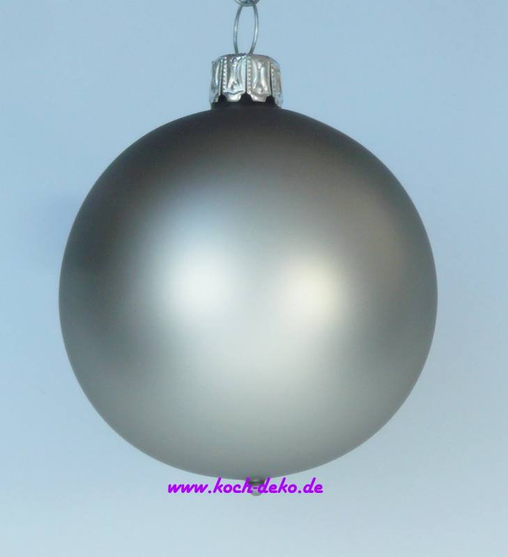 Christbaumkugeln Grau.Mundgeblasene Christbaumkugeln Silber Matt 8cm 1 K A 6 Kugeln