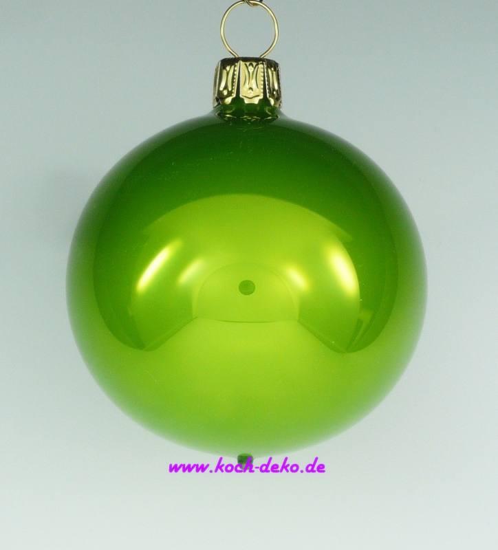Christbaumkugeln Gelb.Mundgeblasene Christbaumkugeln Apfelgrün Opal 8cm 1 Karton Mit 6 Kugeln