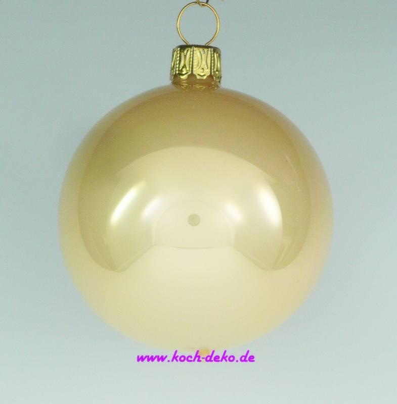 Christbaumkugeln Champagner Glas.Mundgeblasene Christbaumkugeln Champagner Opal 8cm 1 Karton Mit 6 Kugeln