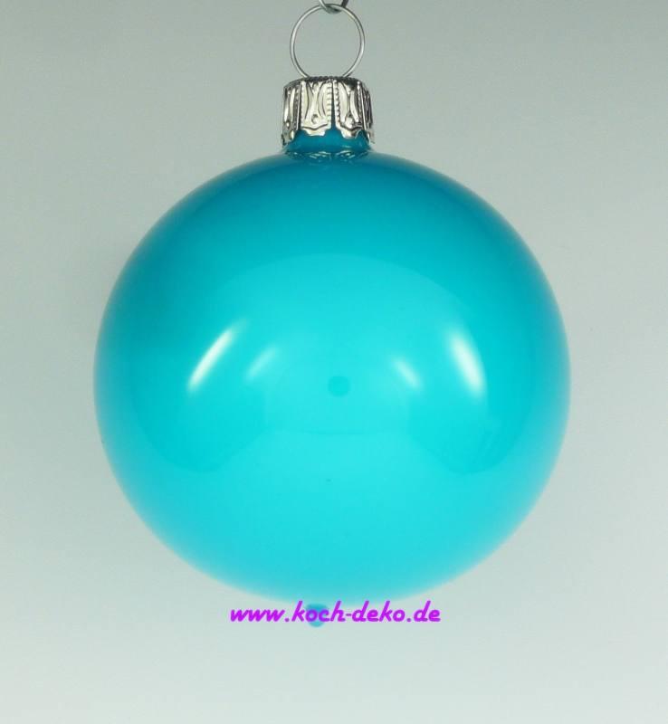 Christbaumkugeln Blau.Mundgeblasene Christbaumkugeln Neon Blau Opal 8cm 1 K A 6 Kugeln