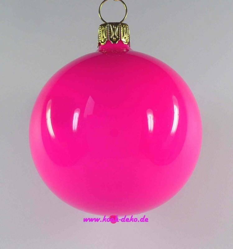 Weihnachtskugeln Pink.Mundgeblasene Christbaumkugeln Neon Pink Opal 8cm 1 Karton Mit 6 Kugeln