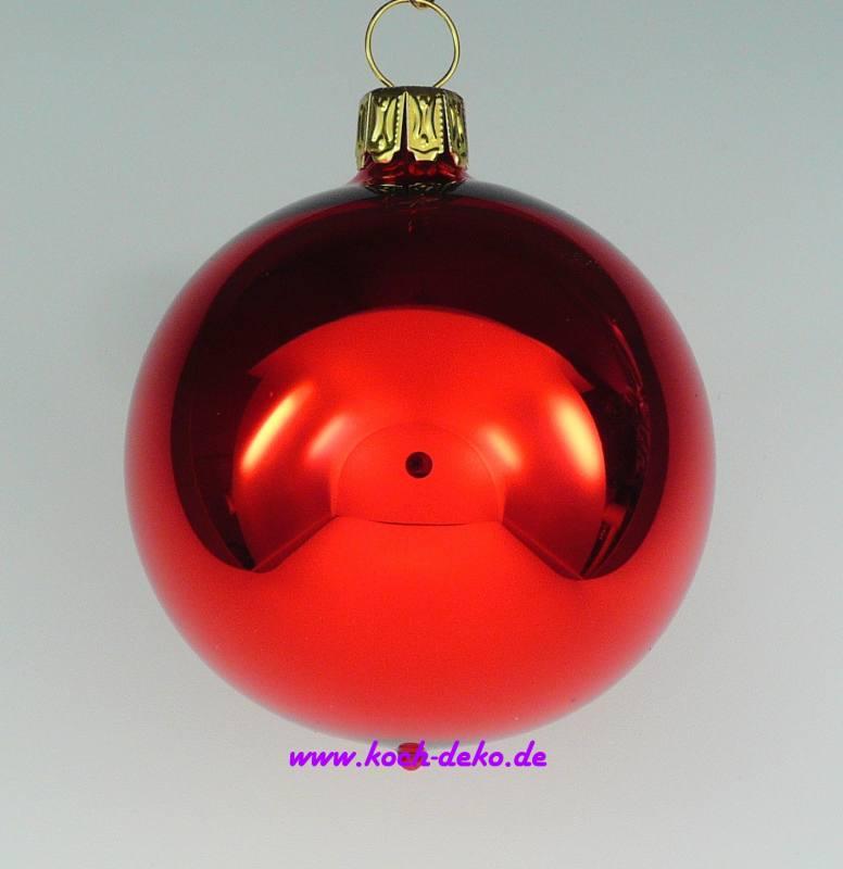 Christbaumkugeln Rot Glänzend.Mundgeblasene Christbaumkugeln Rot Glanz 8cm 1 K A 6 Kugeln