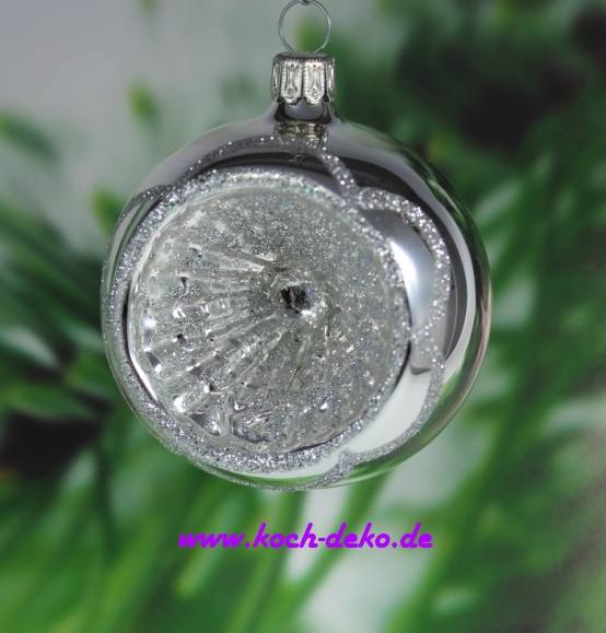 Reflexkugel silber glanz dekor glitter silber welle for Christbaumkugeln lila silber