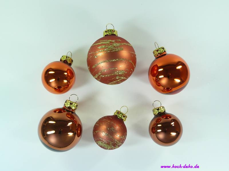 Christbaumkugeln Glas Kupfer.Weihnachtskugeln Set Kupfer Mix